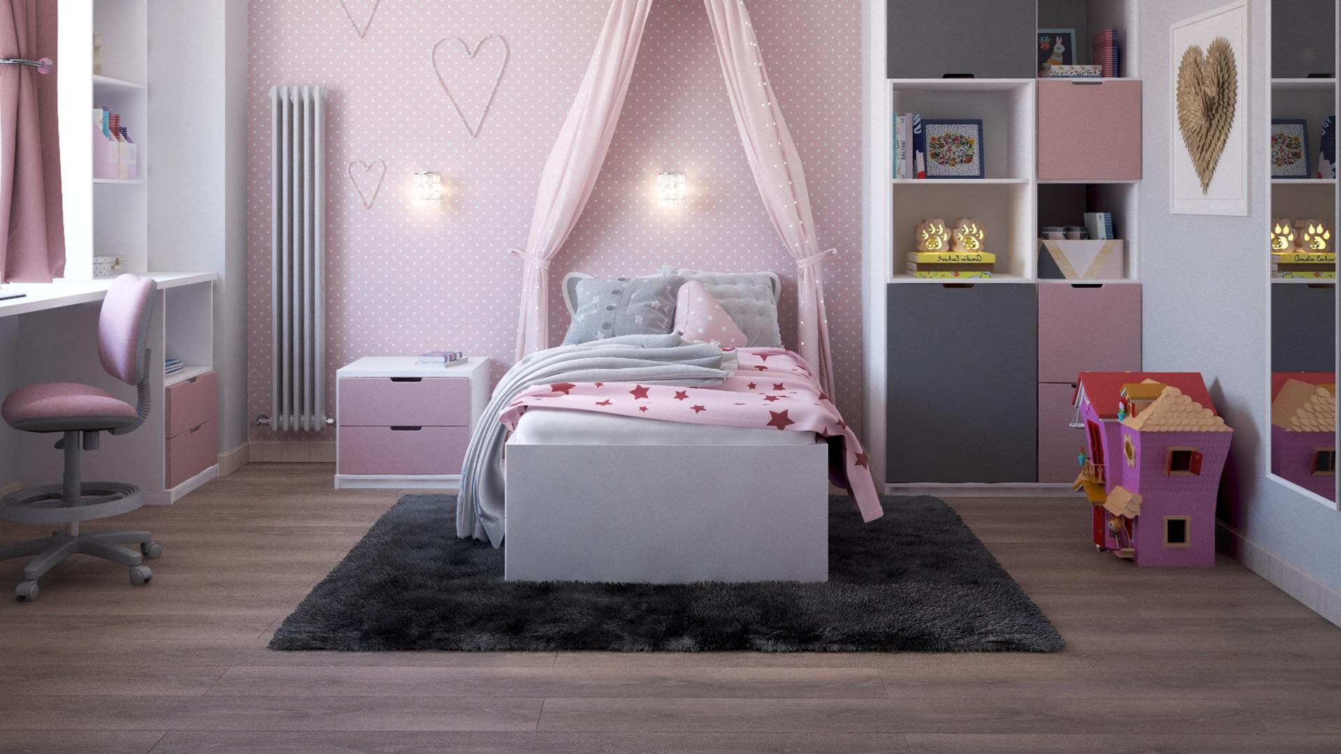Интерьер детской комнаты для девочки в розовом цвете