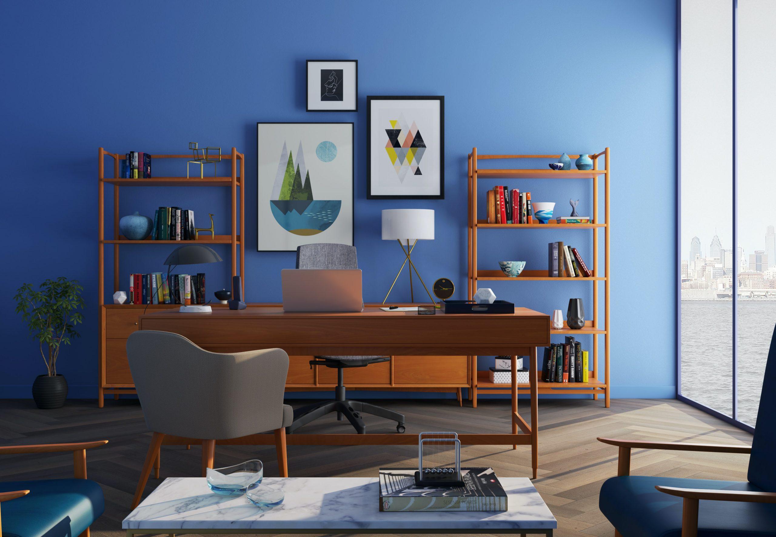 Интерьер кабинета в синем цвете