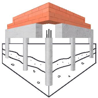 Модель свайно-ростверкового фундамента