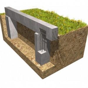 Модель столбчатого фундамента с ростверком