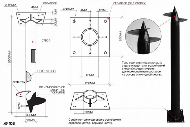 Технические характиристики винтовой сваи 108