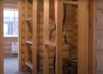Перегородка на деревянном каркасе