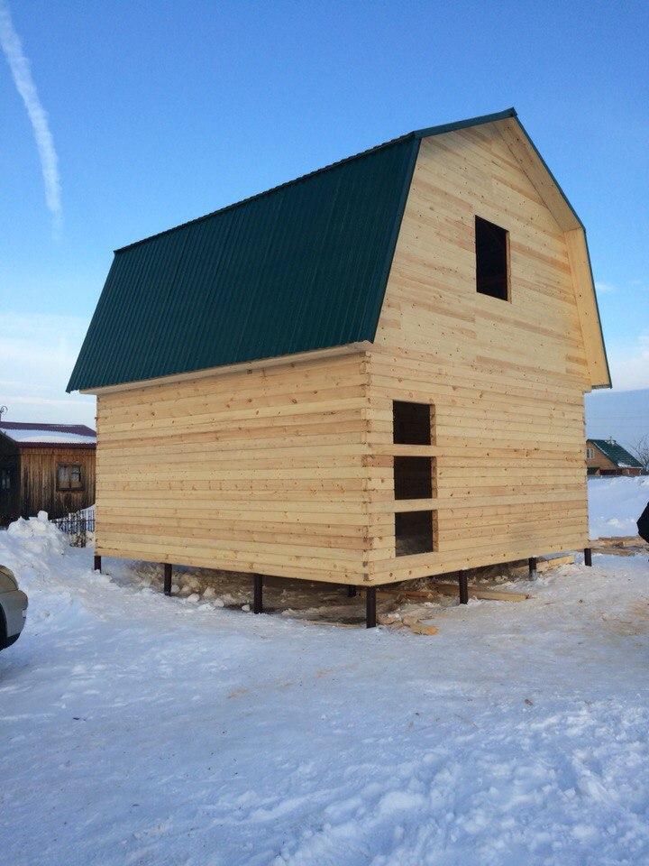Дачный дом из профильного бруса на свайно-винтовом фундаменте